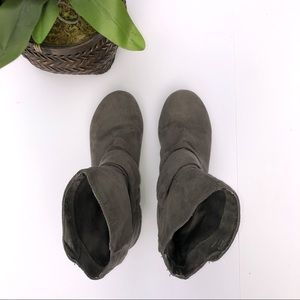 Gray Faux Suede Slouch Booties